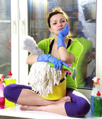 Women cleaning — Stock Photo