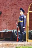 警卫队的荣誉在莫斯科克里姆林宫墙边的无名战士墓 — 图库照片