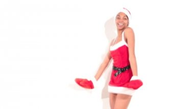 Girl in santa dancer — Stock Video
