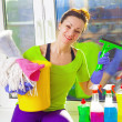 Woman cleaning window — Stock Photo #43791461