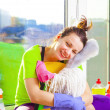 Woman cleaning window — Stock Photo #43791463