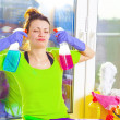 Woman cleaning window — Stock Photo #43791483