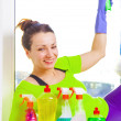 Woman cleaning window — Stock Photo #43791499