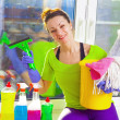 Woman cleaning window — Stock Photo #43791507
