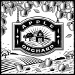 Apple Orchard black and white — Vector de stock #13406893