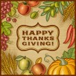 Stock Vector: Thanksgiving Retro Card