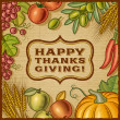 Thanksgiving Retro Card — Stock Vector