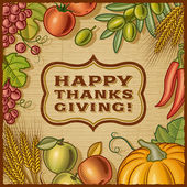 Thanksgiving Retro Card — Stockvector