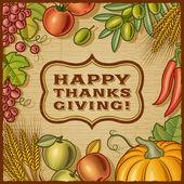 Thanksgiving Retro Card — Stock Vector