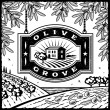 Retro Olive Grove black and white — Stock Vector