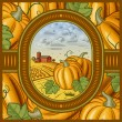Stock Vector: Pumpkin harvest