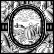 Pumpkin harvest black and white — Stock Vector