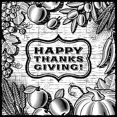 Thanksgiving Retro Card black and white — Stock Vector
