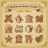 Vintage Christmas Decorations — Stock Vector