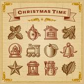 Adornos navideños vintage — Vector de stock