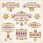 Etiquetas de natal vintage — Vetor de Stock