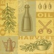Vintage olive harvest background — Stock Vector