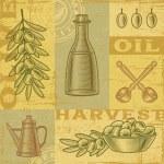 Vintage olive harvest background — Stock Vector