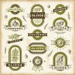 Stock Vector: Vintage olive labels set