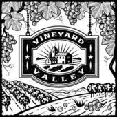 Vineyard Valley black and white — Stock Vector