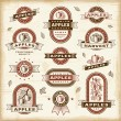 Vintage apple labels set — Stock Vector
