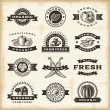 Vintage organic harvest stamps set - Stock Vector