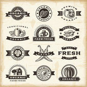 Vintage organic harvest stamps set — Stock Vector