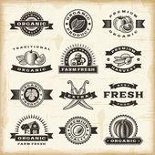 Vintage organic harvest stamps set — Stock Vector