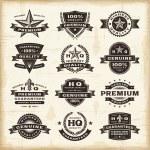 jeu d'étiquettes de qualité premium Vintage — Vecteur