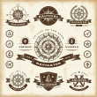 Vintage nautical labels set — ストックベクタ