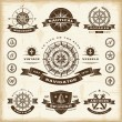 Vintage nautical labels set - Stock Vector