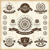 Set di etichette nautico d'epoca — Vettoriale Stock