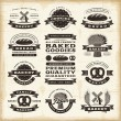 Stock Vector: Vintage bakery labels set