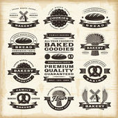 Vintage bakery labels set — Stock Vector