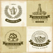 Stock Vector: Vintage olive oil labels set