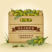 Retro crate of olives — Stock Vector