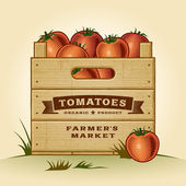Retro crate of tomatoes — Stock Vector