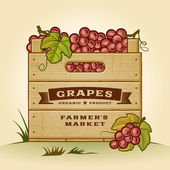 Retro crate of grapes — Stock Vector