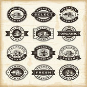 Vintage organic farming stamps set — Stock Vector