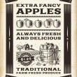 Vintage apple harvest poster — Vettoriale Stock