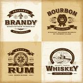 Vintage alcohol labels set — Stock Vector