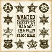Vintage sheriff, marshal and ranger badges set — Stock Vector