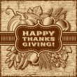 Happy Thanksgiving Retro Card Brown — Stock Vector #50498821