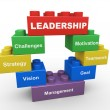 3d leadership building blocks - Stock Photo
