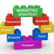 3d marketing strategy building blocks — Stock Photo