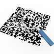 Stock Photo: 3d magnifier and qr code