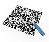 3d magnifier and qr code — Foto de Stock