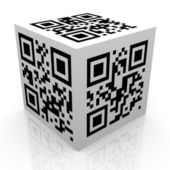 Qr コードの 3 d キューブ — ストック写真