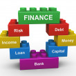 3d finance building blocks — Stockfoto