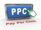3d hand Pay per click button — Stockfoto